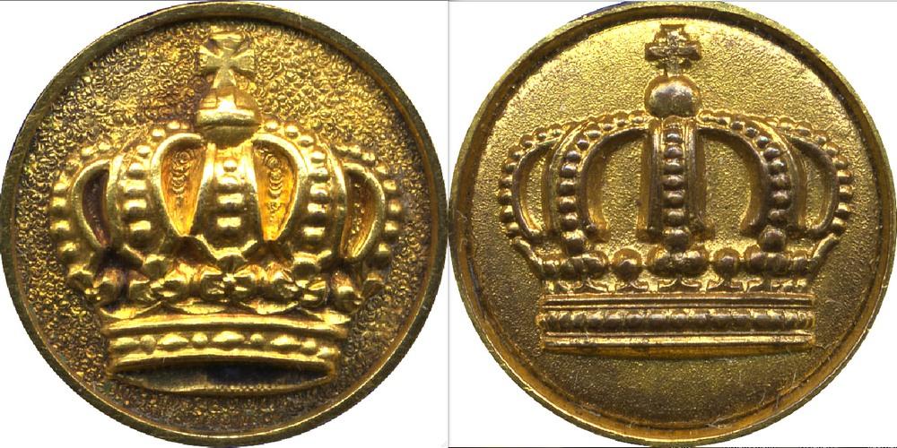 Abb. 2: Medaillons des Kronenordens, hier jeweils einer 3. Klasse, links mit der kleinen und rechts mit der großen Krone