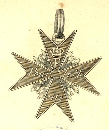 Abb. 8: Reproduktion aus der Preußischen Ordensliste 1817, früher, runder Doppelring, hier eines Ordens pour le mérite