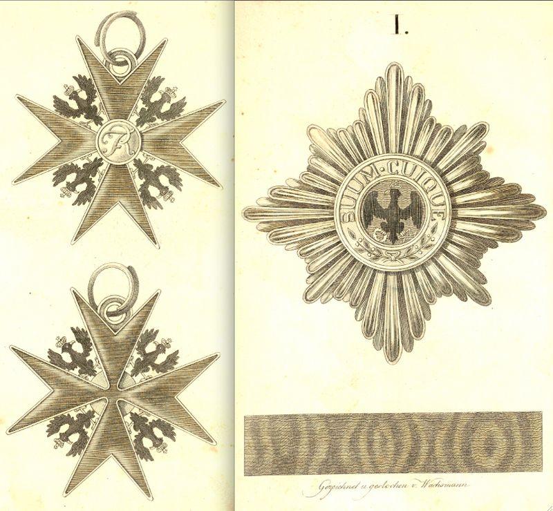 Abb. 1: Kleinod und Stern des Hohen Ordens vom Schwarzen Adler. Abbildung aus der Preußischen Ordensliste des Jahres 1817.