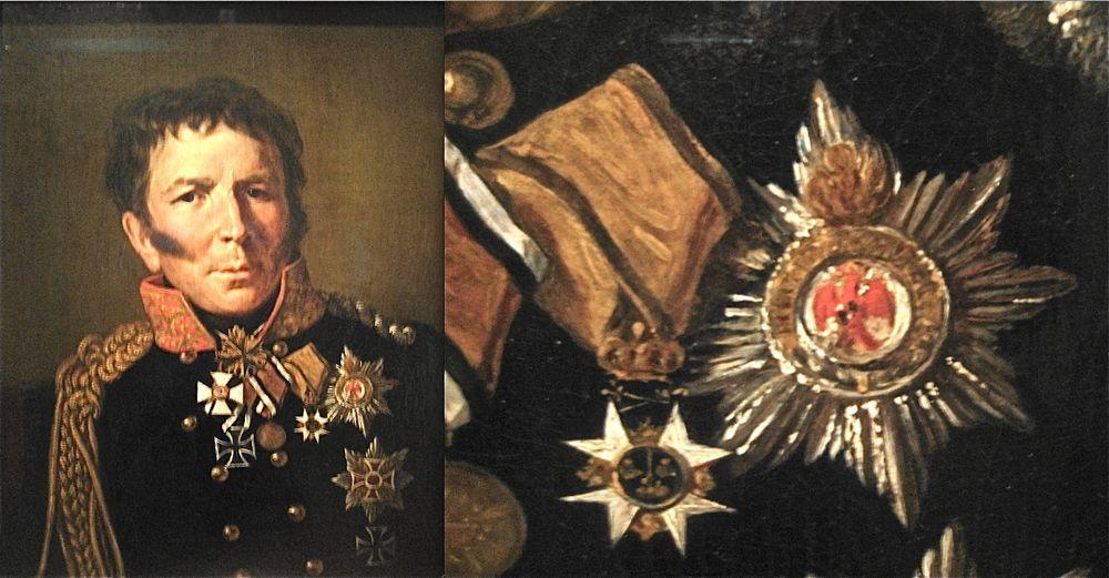 Abb. 3: Ludwig Leopold Gottlieb Hermann von Boyen, als Militärreformer und Soldat mit höchsten Auszeichnungen geehrt. Darunter auch der 1815 verliehene Rote Adler Orden 1. Klasse mit Eichenlaub.