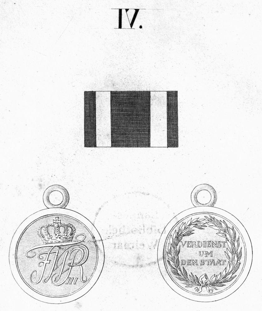 Abb. 14: Militär-Ehrenzeichen 1. Klasse; Abb. aus der Ordensliste 1817. Die kleine goldene Medaille hatte nach Hessenthal und Schreiber einen Durchmesser von 30 mm.