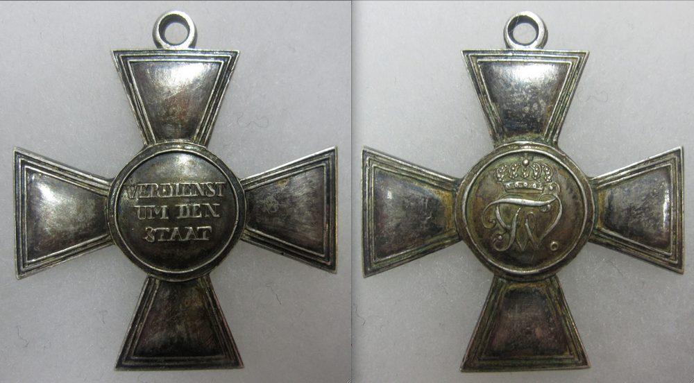Abb. 15: Militär-Ehrenzeichen 1. Klasse, ab 1814. Das silberne Kreuz ist hohl gefertigt und wiegt lediglich 10,3 g.