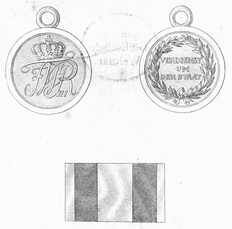 Abb. 17: Allgemeines-Ehrenzeichen 1. Klasse; Abbildung aus der Ordensliste 1817. Die kleine goldene Medaille hatte nach Hessenthal und Schreiber einen Durchmesser von 30 mm.