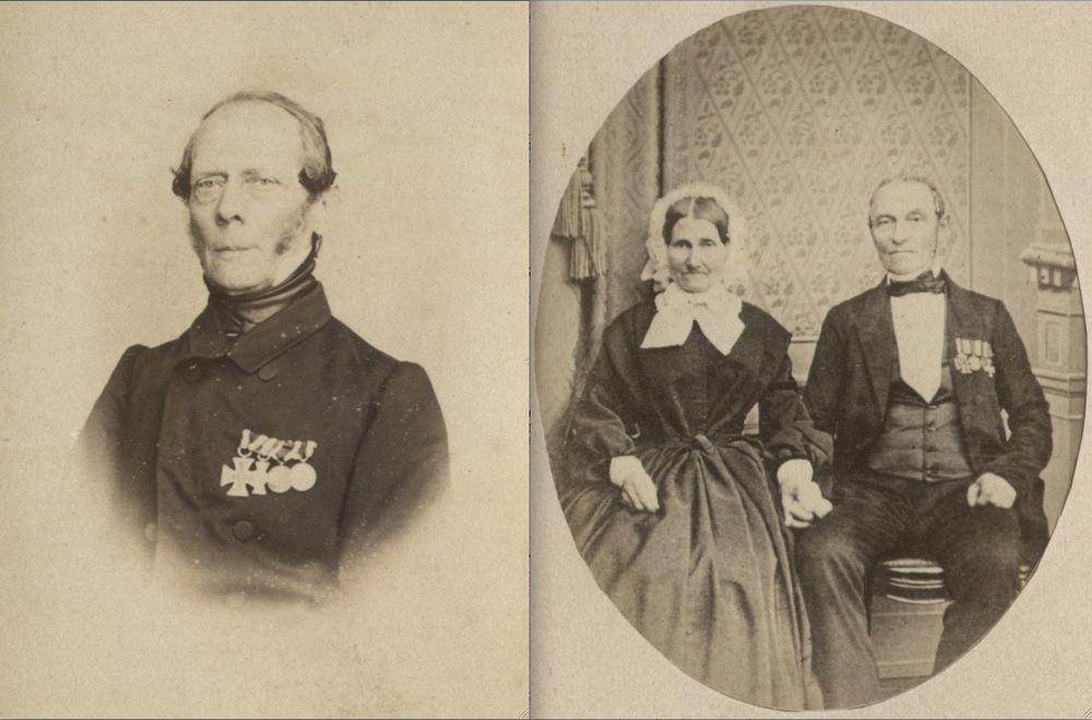 Abb. 22: Zwei Altersbildnisse dekorierter Veteranen. Die Aufnahmen dürften aus dem Jahr 1863 oder danach stammen, da Beide bereits die Erinnerungsdenkmünze von 1863 an ihren Ordensspangen tragen.